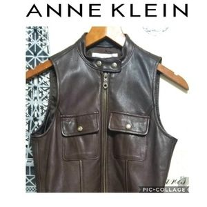 A  Anne Klein Leather brown  Vest